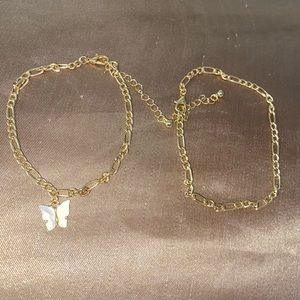 White butterfly anklet set